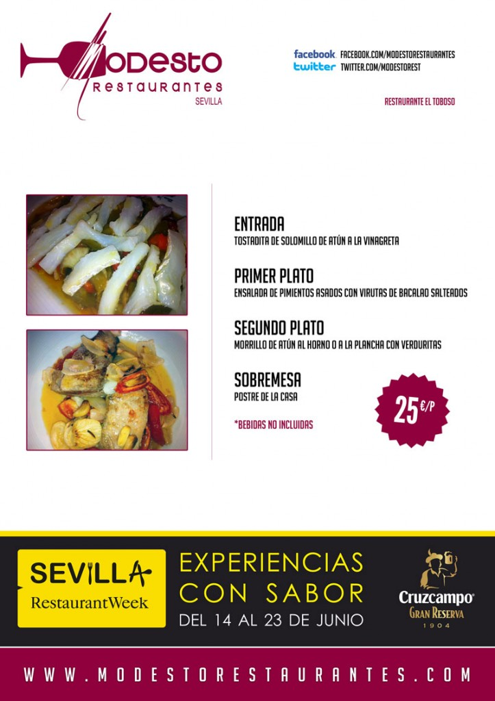 Of the 14 al 23 of June, Restaurant El Toboso in Sevilla Restaurant Week