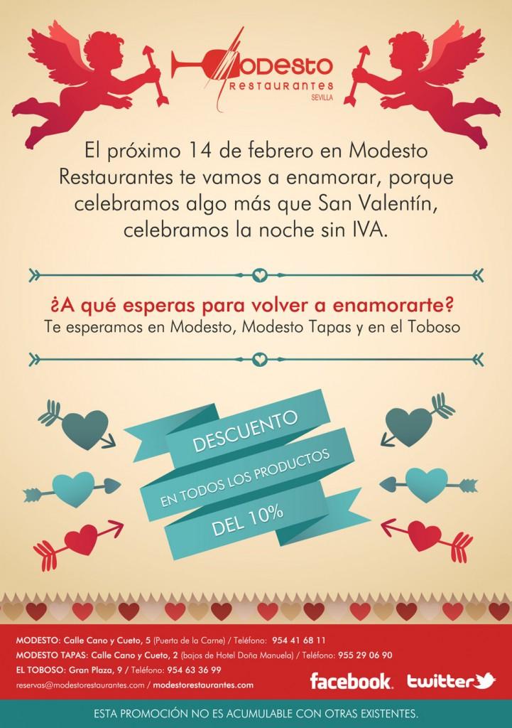 NOCHE SIN IVA el 14 de Febrero - San Valentín en Modesto Restaurante
